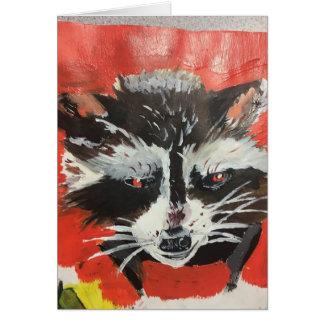 Roter Racoon-künstlerische Malerei Karte