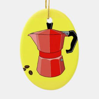 Roter Regenbogen-Espresso Keramik Ornament