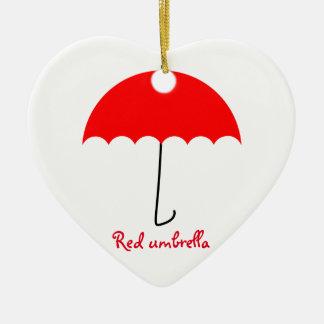 Roter Regenschirm Keramik Herz-Ornament