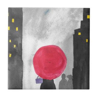 Roter Regenschirm Keramikfliese