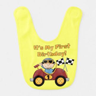 Roter Rennwagen-1. Geburtstags-Schellfisch Babylätzchen