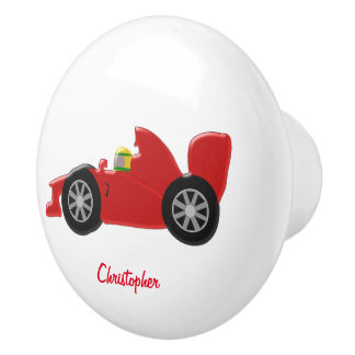 Roter Rennwagen addieren gerade Namen Keramikknauf