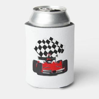 Roter Rennwagen mit Zielflagge Dosenkühler