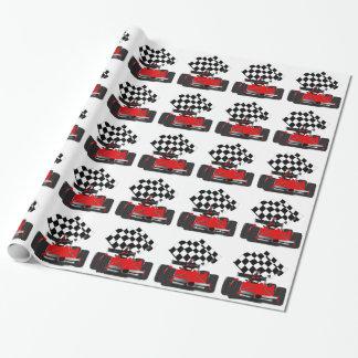 Roter Rennwagen mit Zielflagge Geschenkpapier