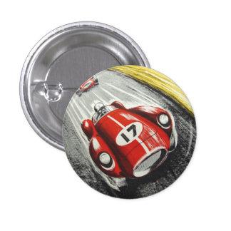 Roter Rennwagen Runder Button 3,2 Cm