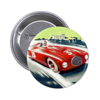 Roter Rennwagen Runder Button 5,1 Cm