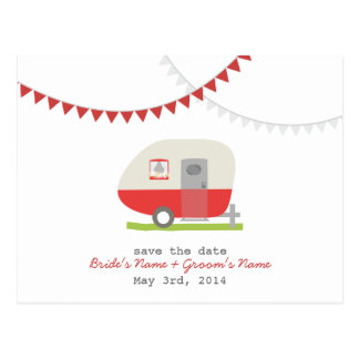 Roter Retro Anhänger, der Save the Date Postkarte