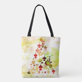 Roter Retro Weihnachtsbaum Tasche