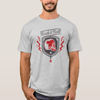 roter Rock and roll Totenkopf T-Shirt