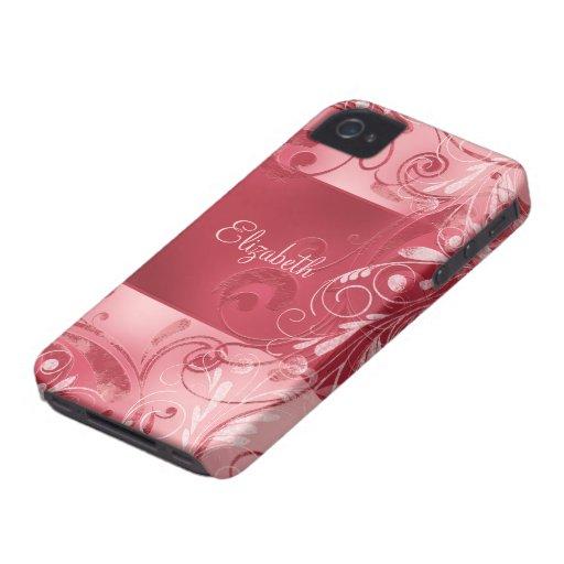Roter rosa abstrakter Blumenindividueller Name Case-Mate iPhone 4 Hülle