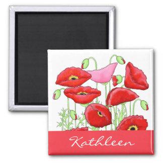 Roter rosa Mohnblumen-Kunst-individueller Name Quadratischer Magnet