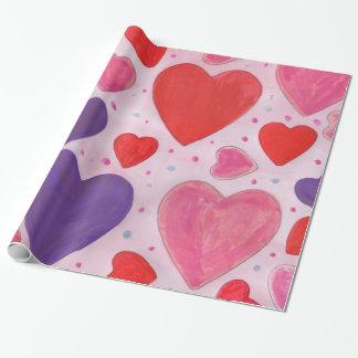 Roter rosa und lila Herz-Entwurf des Valentines Geschenkpapier