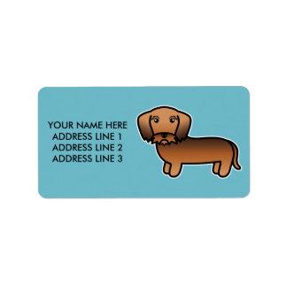 Roter Sable-Drahthaar-Dackel-Cartoon-Hund Adressaufkleber