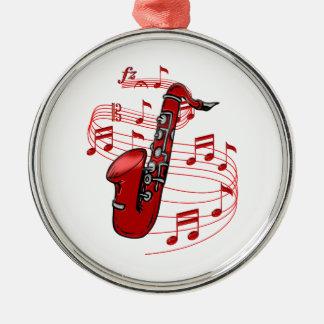Roter Sax mit Musiknoten Silbernes Ornament
