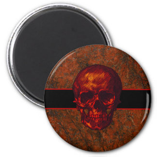 Roter Schädel Runder Magnet 5,7 Cm
