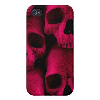 Roter Schädel-Speck-Kasten iPhone 4/4S Case