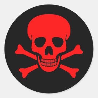 Roter Schädel-u. Knochen-Aufkleber Runder Aufkleber