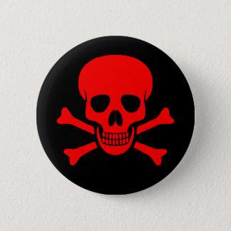 Roter Schädel u. Knochen-Knopf Runder Button 5,7 Cm