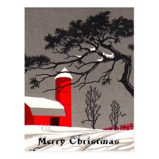 Roter Scheunen-und Silo-Schnee bedeckte schwarze Postkarte