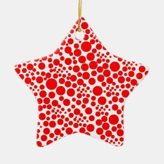 roter schnee rot kreise punkte weihnachten points keramik Stern-Ornament