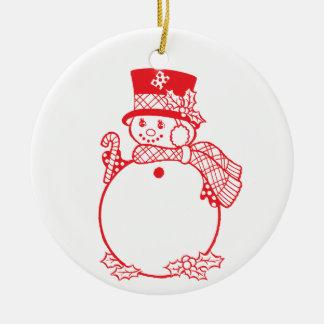 roter Schneemann mit Zuckerstange Rundes Keramik Ornament