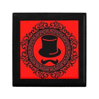 roter Schnurrbarthut-Hipster-Andenkenkasten Erinnerungskiste