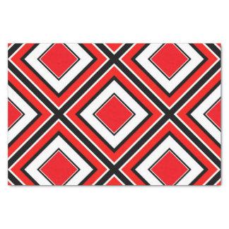 Roter Schwarz-weißer Diamant geometrisch Seidenpapier