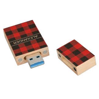 Roter schwarzer Büffel-Karo-kariertes Holz USB Stick