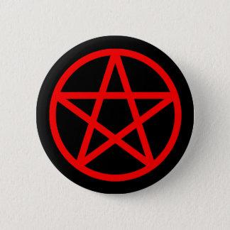 Roter schwarzer fester Pentagramm-Knopf Runder Button 5,1 Cm