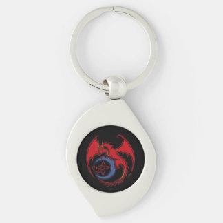 Roter schwarzer keltischer Drache-und blauer Schlüsselanhänger