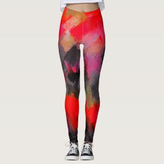 Roter schwarzer rosa Farben-Spritzer Leggings