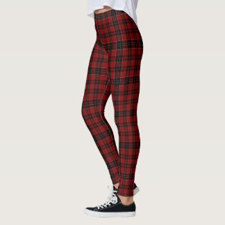 Roter schwarzer Tartan kariert Leggings