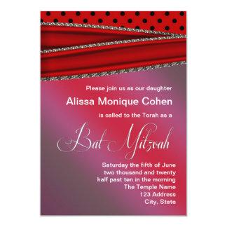 Roter schwarzer Tupfen-Schläger Mitzvah 12,7 X 17,8 Cm Einladungskarte