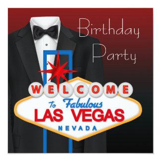 Roter schwarzer Tuxedo bemannt Geburtstags-Party Individuelle Einladung