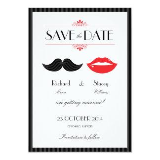 Roter, schwarzer u. weißer Schnurrbart u. Lippen, 12,7 X 17,8 Cm Einladungskarte