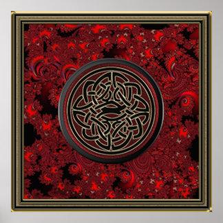 Roter schwarzes und metallisches Goldkeltischer Plakat
