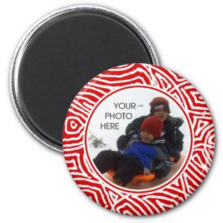 Roter Scribbleprint Grenzmagnet Runder Magnet 5,1 Cm