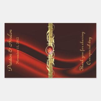 Roter Silk Goldrolle-Hochzeits-Wein-Aufkleber Rechteckiger Aufkleber