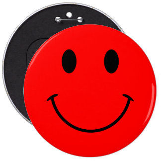 Roter Smiley-Knopf Runder Button 15,3 Cm