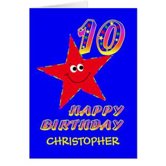 Roter smiley-Stern-10. Geburtstags-individueller Karte