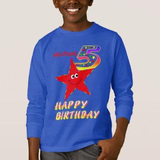 Roter smiley-Stern-5. Geburtstags-Shirt T-Shirt
