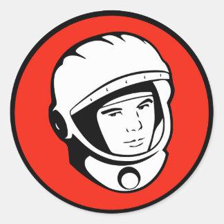 Roter sowjetischer Kosmonaut-Aufkleber Runder Aufkleber