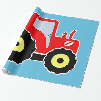 Roter Spielzeugtraktor Geschenkpapier