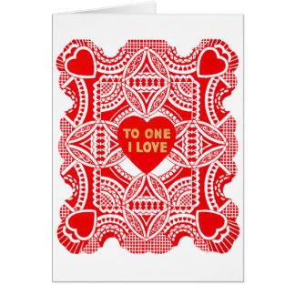 Roter Spitze-Valentinsgruß Karte