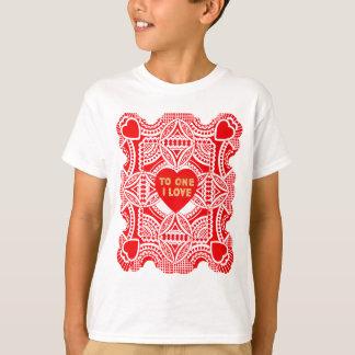 Roter Spitze-Valentinsgruß T-Shirt
