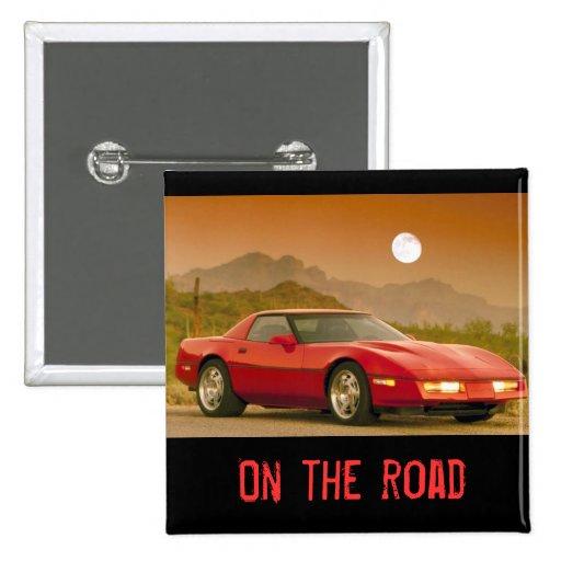 Roter Sportwagen - Corvetta Anstecknadelbuttons