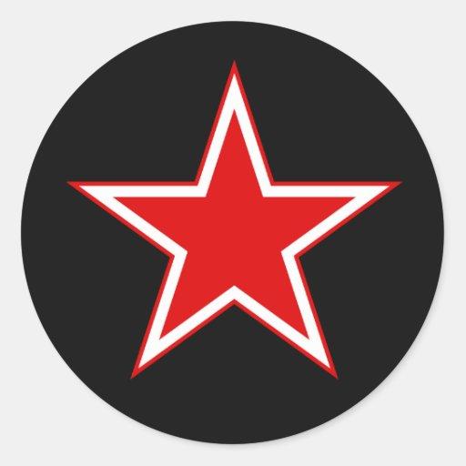 Roter Stern-Schwarzaufkleber Runder Aufkleber