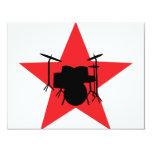 roter Sterntrommelschlagzeuger 10,8 X 14 Cm Einladungskarte