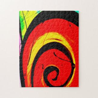 Roter Strudel-abstrakte Kunst Puzzle