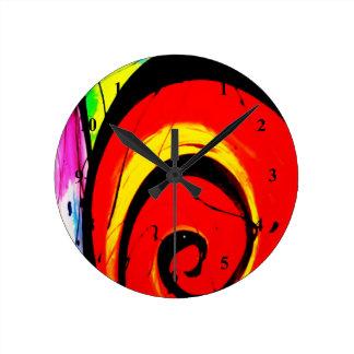 Roter Strudel-abstrakte Kunst Runde Wanduhr